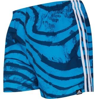 adidas Mens 3 Stripes All Over Print Swim Shorts Legend Maroon/Shock Cyan