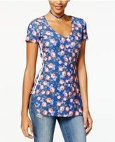 Ultra Flirt Juniors' Printed Side-Stripe Tunic T-Shirt
