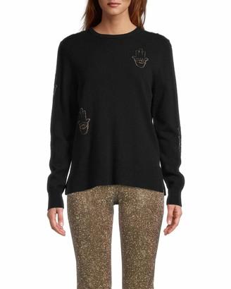 Nicole Miller Cashmere Hamsa Long Sleeve Sweater