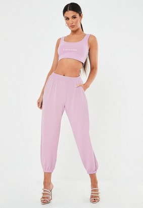 Missguided Pink Oversized Ribbed Joggers