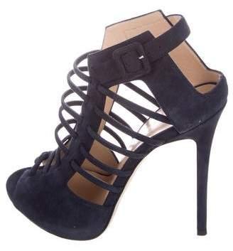 Giuseppe Zanotti Jennifer Lopez x Suede Caged Sandals