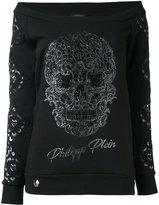 Philipp Plein off-the-shoulder sweatshirt - women - Cotton/Polyester/Spandex/Elastane/glass - S