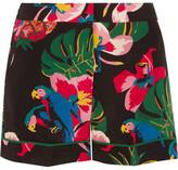Valentino Printed Silk Crepe De Chine Shorts - Black