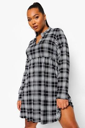boohoo Plus Check Collar Smock Dress