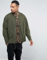Asos Oversized Jersey Bomber Jacket With Drawstring Hem In Khaki