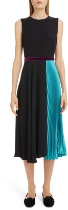 Roksanda Asymmetrical Pleat Midi Dress