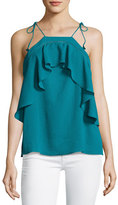 Ella Moss Nete Embroidered Ruffle Tie-Strap Tank, Teal