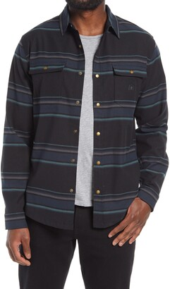 Roark Alpinist Classic Fit Stripe Performance Flannel Snap-Up Shirt