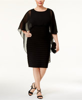 Betsy & Adam Plus Size Capelet Sheath Dress