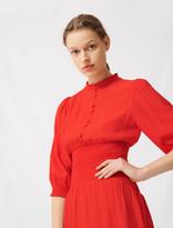 Maje Mid-length smocked red dress