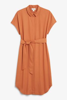 Monki Belted hidden button shirt dress