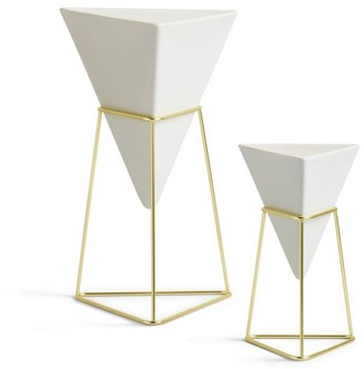 Umbra Trigg Desk Vessels - White/Brass Set Of 2