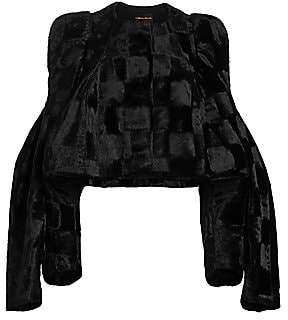 Comme des Garcons Women's Velvet Checkered Cape-Sleeve Jacket