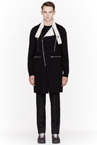Raf Simons Black Wool Long Zippered Biker Vest