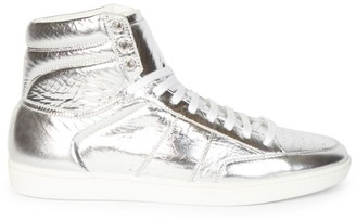 Saint Laurent Court Classic Metallic Leather High-Top Sneakers