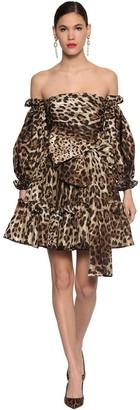 Dolce & Gabbana Taffeta Printed Leo Ruffled Dress