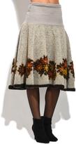 Everest Gray Floral Wool-Blend A-Line Skirt