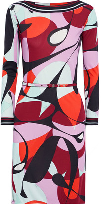 Emilio Pucci Belted Printed Jersey Mini Dress