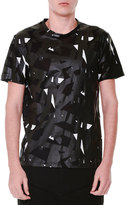 Alexander McQueen Rubberized Pattern Short-Sleeve T-Shirt, Black/White