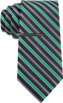 Jf J.Ferrar JF Mini- Striped Tie and Tie Bar Set - Extra Long