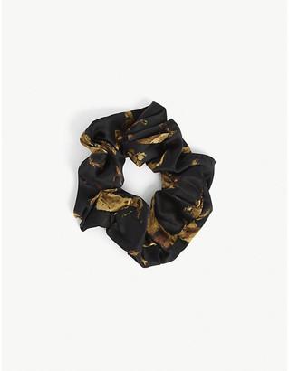 Ganni Graphic-print silk-blend hair scrunchie