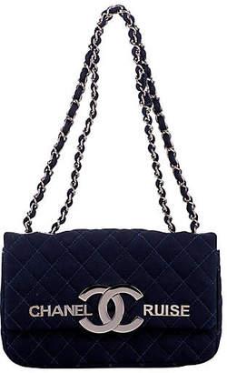 One Kings Lane Vintage Chanel Navy Cruise Flap Bag - Vintage Lux