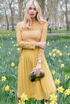Little Mistress Alice Mustard Crochet Top Midaxi Dress With Pleated Skirt