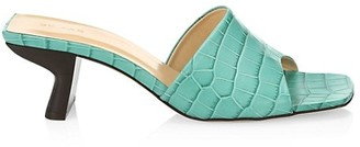 BY FAR Lily Croc-Embossed Leather Mules