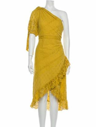 Ulla Johnson One-Shoulder Midi Length Dress Yellow