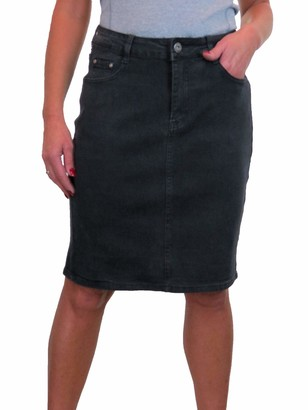 icecoolfashion Women's Knee Length Denim Skirt with Great Stretch Jeans Skirt Black 10-22 (14)
