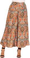 Meaneor Plus Size Boho Printed High Waist Wide Leg Palazzo Pants for Women