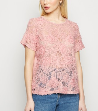 New Look 3D Lace Short Sleeve Top