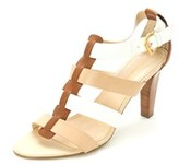 Jones New York Womens Serota Leather Open Toe Formal, Natural/white, Size 11.0.
