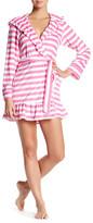 Betsey Johnson Ruffle Stripe Wrap Robe