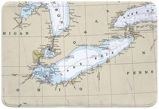 Island Girl Home, Inc. Lake Erie Nautical Chart Memory Foam Bath Mat
