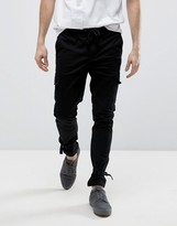 Asos Skinny Cargo Joggers With Ankle Strap In Black
