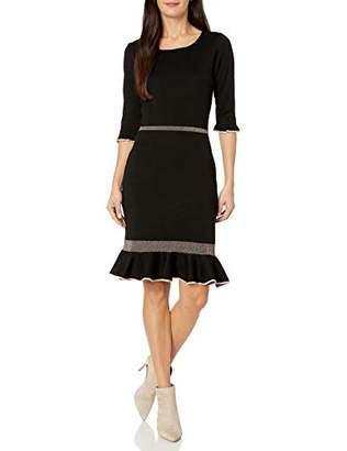 Taylor Dresses Women's Elbow Sleeve Ruffle Hem Sweater Dress