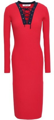Diane von Furstenberg Lace-up Ribbed-knit Midi Dress