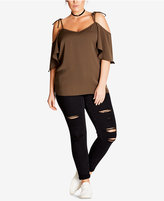 City Chic Trendy Plus Size Off-The-Shoulder Tunic