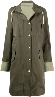 Yves Salomon High Drawstring Neck Panelled Coat