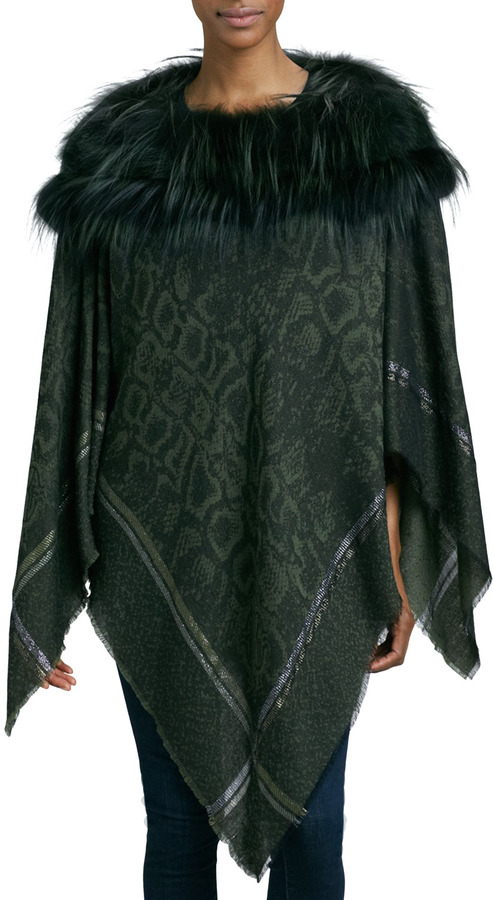 Roberto Cavalli Fox Fur-Trim Poncho, Olive Green