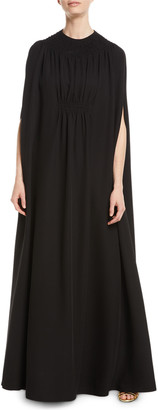 Valentino V-Neck Silk Cady Couture Slip Evening Gown with Cape