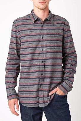 JACHS NY Flannel Stripe Long Sleeve Button Down Shirt Charcoal XXL