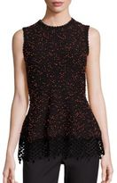 Lela Rose Lace-Hem Knit Peplum Top