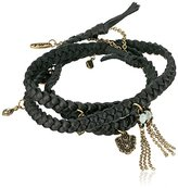 Ettika Buffalo Stance Wrap in Black Leather Bracelet