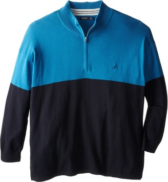 Nautica Men's Big-Tall Color-Block Quarter-Zip Sweater