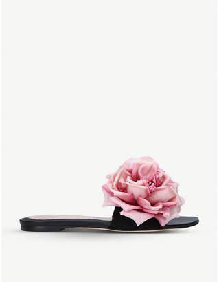 Alexander McQueen Floral-embellished suede sandals