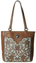 M&F Western Calico Kate Conceal Carry Tote (Brown) Handbags