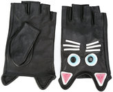 Karl Lagerfeld cat embroidered gloves - women - Goat Skin/Acrylic/Viscose - S