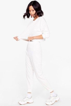 Nasty Gal Womens Work Things Out Sweater and Joggers Lounge Set - White